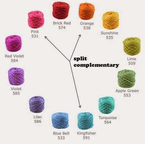 Selecting Yarns that Go Together (Split  Complementary Colors)