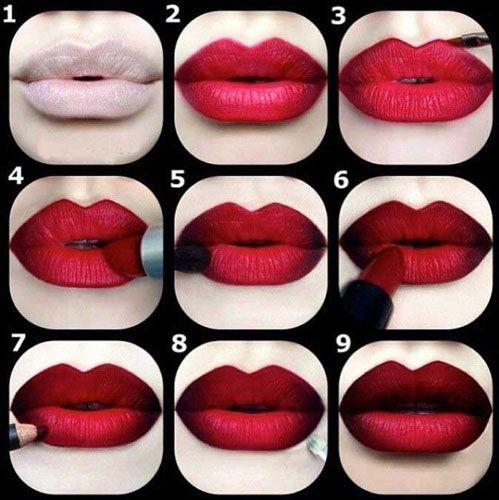 Темно красные губы с эффектом омбре  #макияж #визажист #урокипомакияжу…
