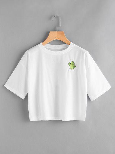 Camiseta de espalda con estampado de lema bordada de cactus