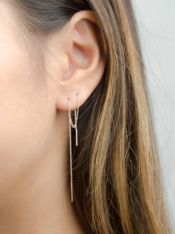 Long Chain Earrings, Sterling Silver Threader Earrings, Delicate Chain Stick Earrings, Minimalist, Edgy Jewelry, Hand Made, Gift, CHE023