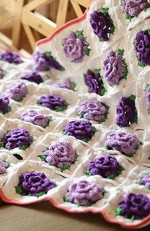 Purple Rose Crochet blanket...free diagram only!