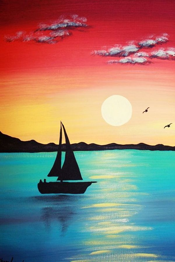 55 Easy Acrylic Painting Ideas On Canvas Easy Landscape Paintings Landscape Paintings Acrylic Silhouette Painting