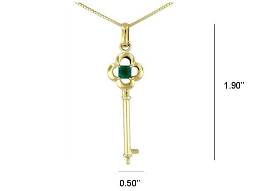 18K yellow gold key pendant necklace with 0.40 Ct. emerald cut emerald from Colombia by www.GreenInGold.com #emeralds #pendants #necklaces