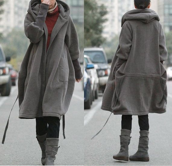 Free Style Zipper Hoodie Jacket with Cotton Lining/ Winter Coat/ GREY and BLACK op Etsy, 82,89 €
