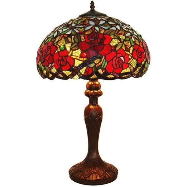 This gorgeous roses tiffany style table lamp is made with almost 900 pieces of genuine stained glass this piece of our collection of stained glass will