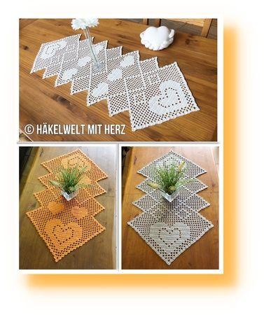 0häkeln Tischläufer Zickezacke 2 Größen 3 Motive Crochet