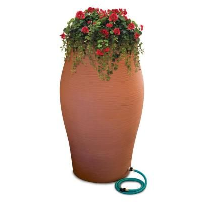 RESCUE 60 gal. Terra Cotta Decorative Rain Barrel Kit with Planter and Diverter System-2262-1 at The Home Depot