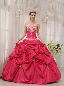 Sweetheart Ball Gown Hot Pink Taffeta Prom Dress with Appliques and Pick-ups
