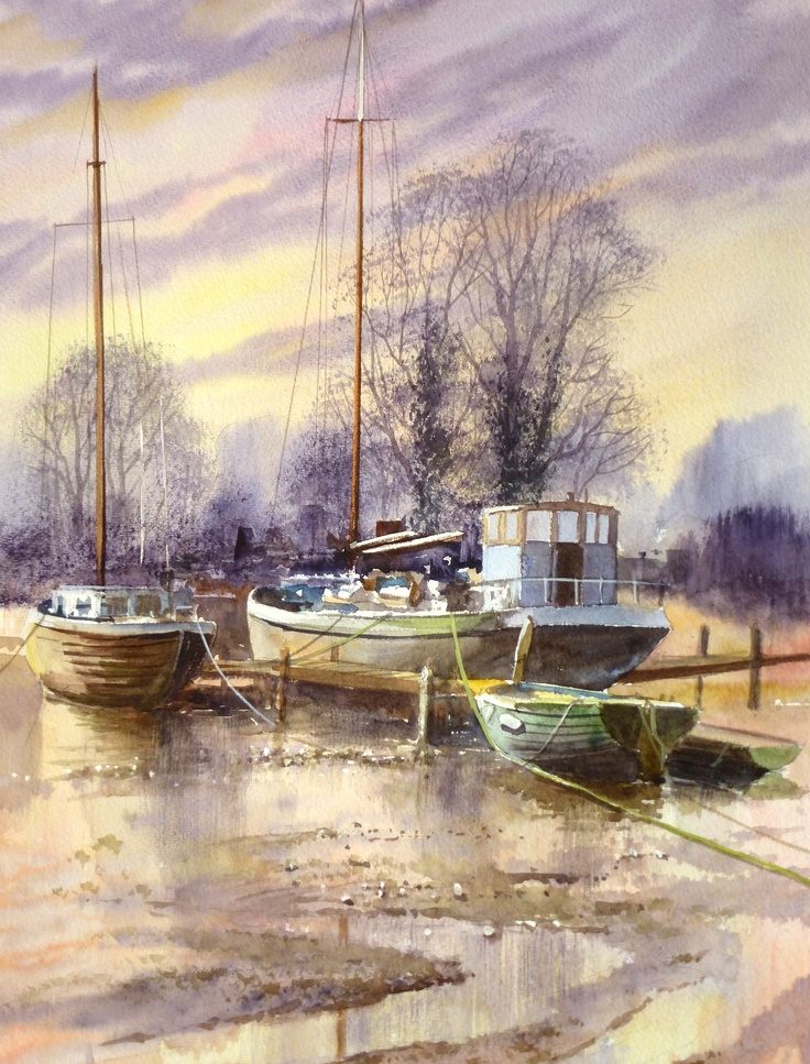 Pinn Mill at low tide. Watercolour by Terry Harrison