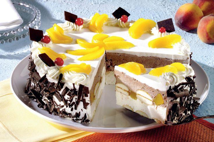 Tort cu piersici şi ciocolată - Retete culinare - Romanesti si din Bucataria internationala