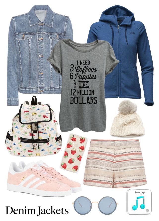 """""""Denim jacket"""" by hstaylor1 ❤ liked on Polyvore featuring A.P.C., The North Face, Thread Tank, adidas Originals, Joie, LeSportsac, SIJJL, Sonix and Linda Farrow"""
