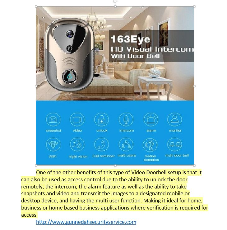 Not only can it be used as a video door bell,(transmits video image directly to a mobil device when activated). It can also be used to unlock a door remotely after verifying the identity of the person at the door,  or even as an intercom with video capabilities. Ideal for internal and external use or when needing to be certain of WHO is at the door.