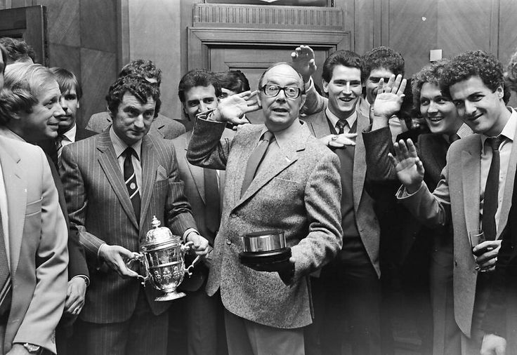 Eric Morecambe, David Pleat & Players celebrating their League Division 2 win