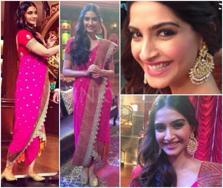 @SonamAKapoor in Anamika Khanna http://www.perniaspopupshop.com/designers-1/anamika-khanna promoting her upcoming Film #Khoobsurat @ Comedy Nights w/ Kapil, late July, 14