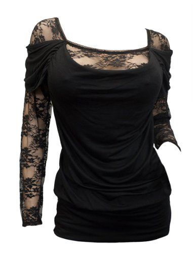 Amazon.com: eVogues Floral Lace Sleeve Top Black: Clothing
