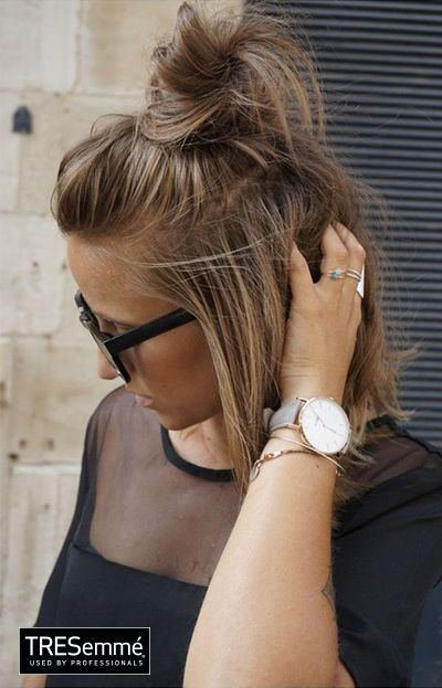 Medio Moño Alto - Messy Top Knot Short Hair #TRESemméPerú