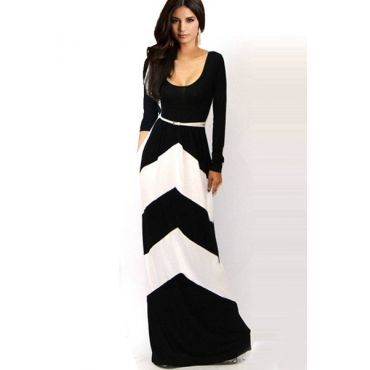 USD11.49Fashion O Neck Long Sleeve Waist Floor Length Black White Polyester Dress