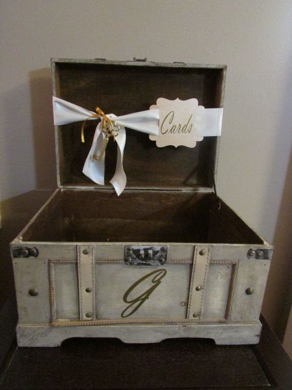 Extra Large Vintage Wedding Card Box Rustic Trunk With Custom Cards