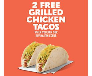 Sign up for the Del Taco Raving Fan eClub and you will receive 2 Free Grilled Chicken Tacos at participating Del Taco locations. You'll also be able to get a Free Premium Shake on your birthday!  Hope there is one near you! http://ifreesamples.com/join-del-taco-get-2-free-chicken-tacos/