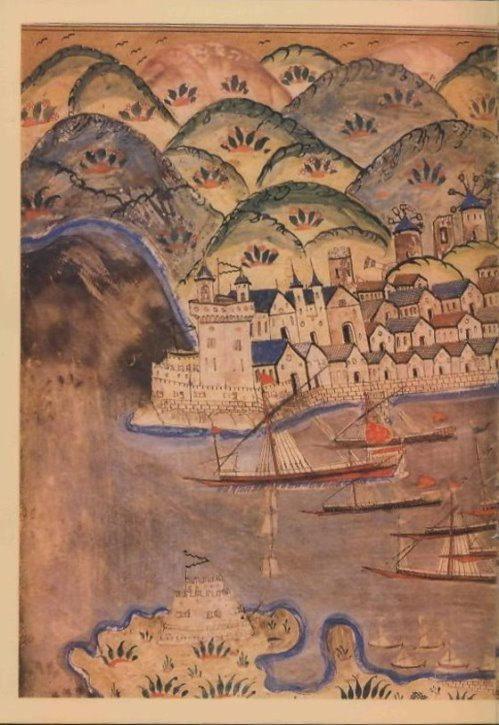 16th C. Ottoman illustration of Estergon Kalesi'nin Fethi on the Danube River by the famed polymath Matrakçı Nasuh.