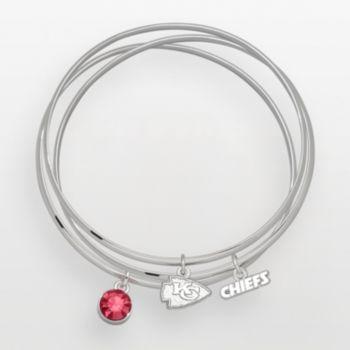 Kansas City Chiefs Silver Tone Crystal Charm Bangle Bracelet Set
