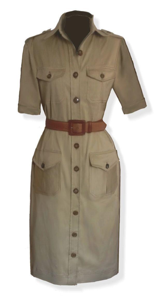 Safari style, abito, 4 cartamodelli in 4 taglie differenti