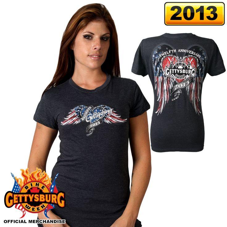 Official 2013 Gettysburg Bike Week Flying Heart Ladies Shirt