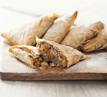 Chicken & almond pastillas Morocco's very own version of the pasty - spiced meat and apricots are wrapped in crisp filo pastry and finished with cinnamon sugar