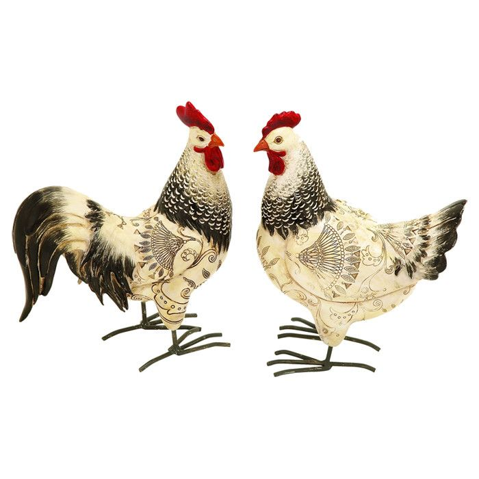 Set Of Two Indoor/outdoor Rooster Statuettes. Product: 2 Piece Rooster  SetConstruction Material: PolystoneColor: Red, Black And IvoryDimensions: H  X W X D ...
