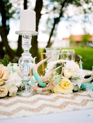 Trendy rustic glam look centerpieces placemat and