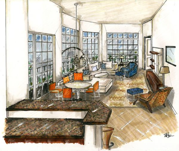 Interior Design Sketches Living Room 118 best interior/architecture sketches images on pinterest