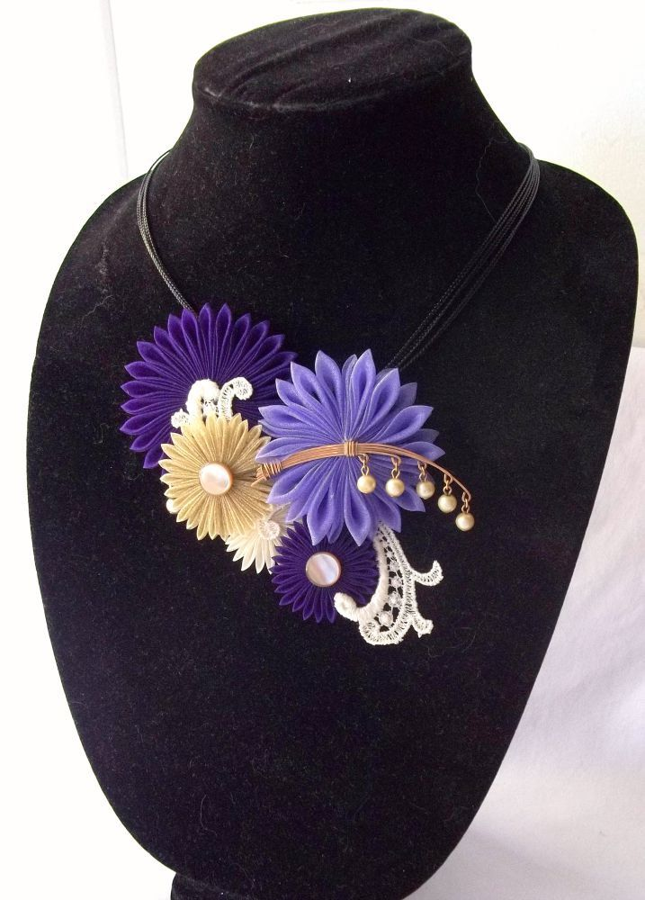 Purple Bib Necklace Tsumami Kanzashi Flower by ScarlettandMaria