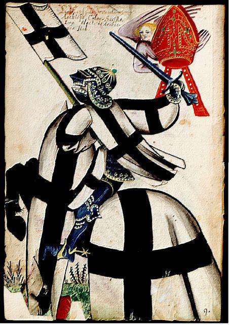 """l'Archevêque de Cologne * -  folio N° 1 vo  """"d'argent à la croix de sable""""  heaume à mésail en pointe incrusté de pierres précieuses, sans cimier   mître rouge, ornée de perles et d'émeraudes,  portée par un chérubin de couleur lilas. bannière aux armes - cheval noir inscription du haut en cursives :  """"Archieps. Colon. Sac. Ro. Imp. Elect. et Archic. per Ital. """" (Archevêque de Cologne, Électeur du Saint Empire Romain  et Archichancelier d le Grand Armorial Équestre de la Toison d'Or - 3e…"""