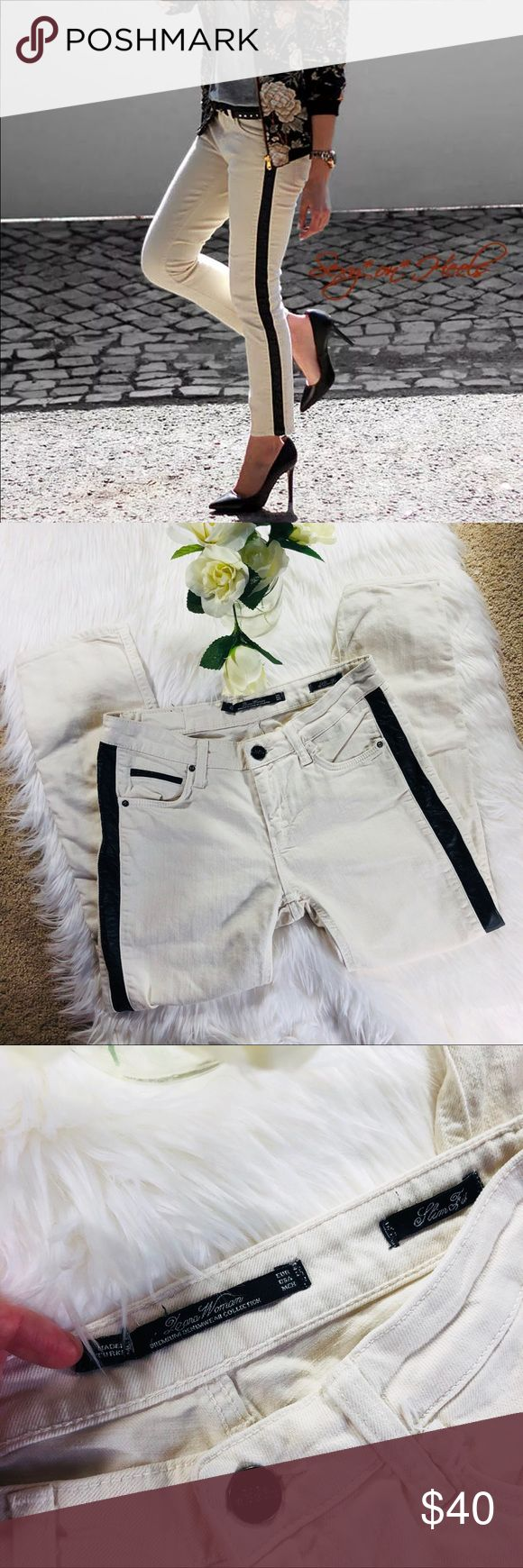 Zara Woman Cream with Leather stripe Trouser pants Zara Cream with Leather stripe jeans. I am unable to see size tag but these fit like a 0-2. See measurements to ensure these will fit. Great condition. Make a bundle and offer to save! :) Zara Jeans Ankle & Cropped