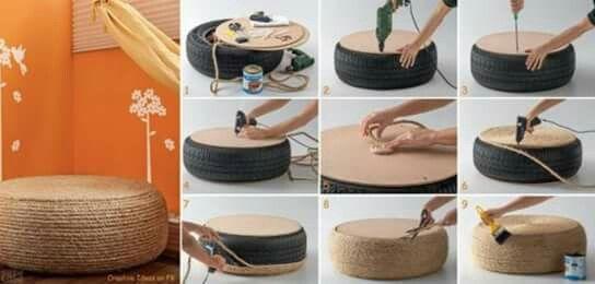 . Table basse / pouf : fait avec un vieux pneu.   - un pneu  - Une corde  - Un pistolet à colle  - une planche en bois prédécoupé ( diamètre du pneu) - Un vernis comme finition 😉  C'est partie.....  Et 1,2,3... C'est magique !!!