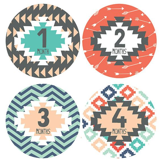 Lucy Darling Monthly Baby Stickers - Baby Boy or Baby Girl Stickers - Tribal Design - Months 1-12 on Etsy, $15.99