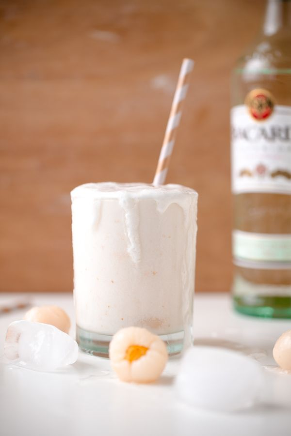 Coconut Lychee Colada. A refreshing rum cocktail made with lychees, coconut milk, coconut water, and Bacardi!