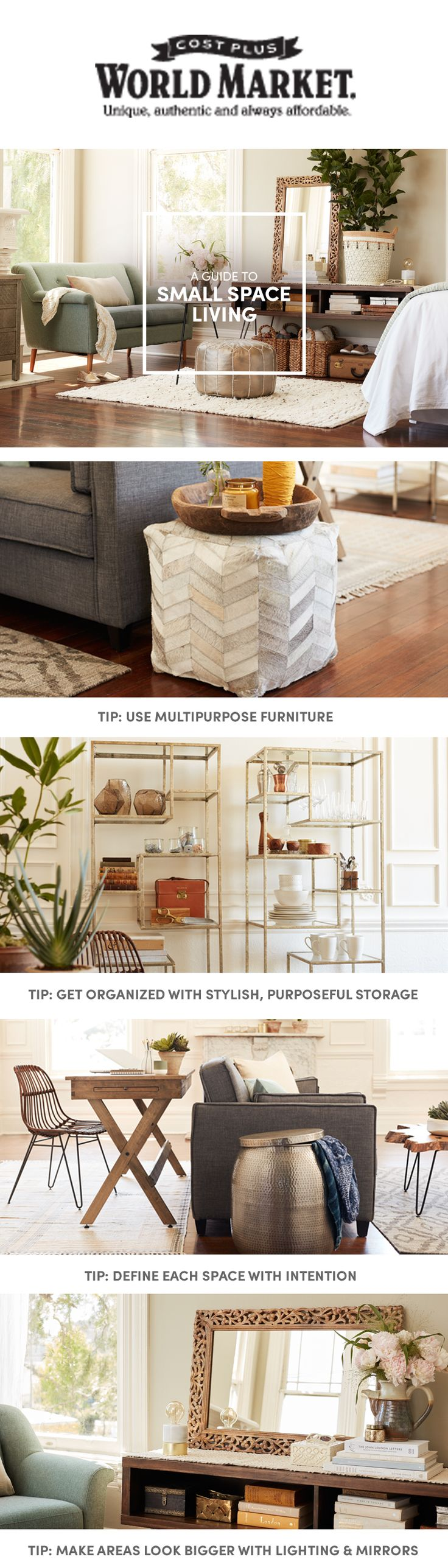 Small space design ideas small spaces huge inspiration see all our - With Our Small Spaces Living Guide You Ll Find Tips And Tricks To Bring Big Ideas Into Every Space Costplus Worldmarket Small Space Living