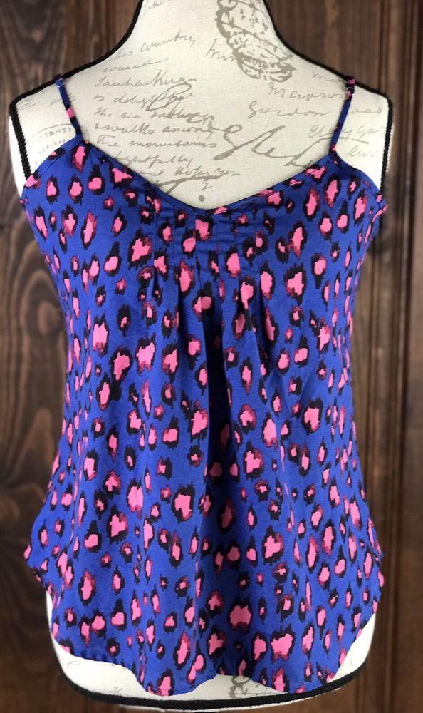 Weavers Women's Blue Pink Leopard Print Shirt Top Size Small Summer  | eBay