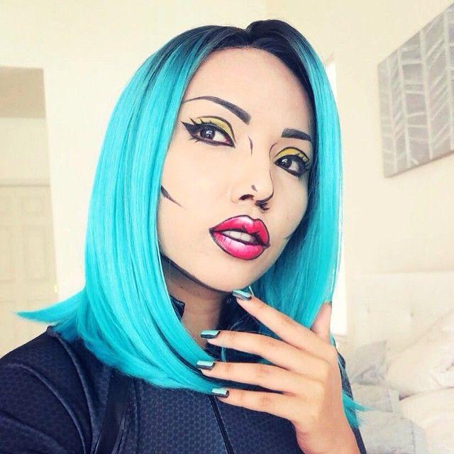 Love this pop art Halloween makeup look.
