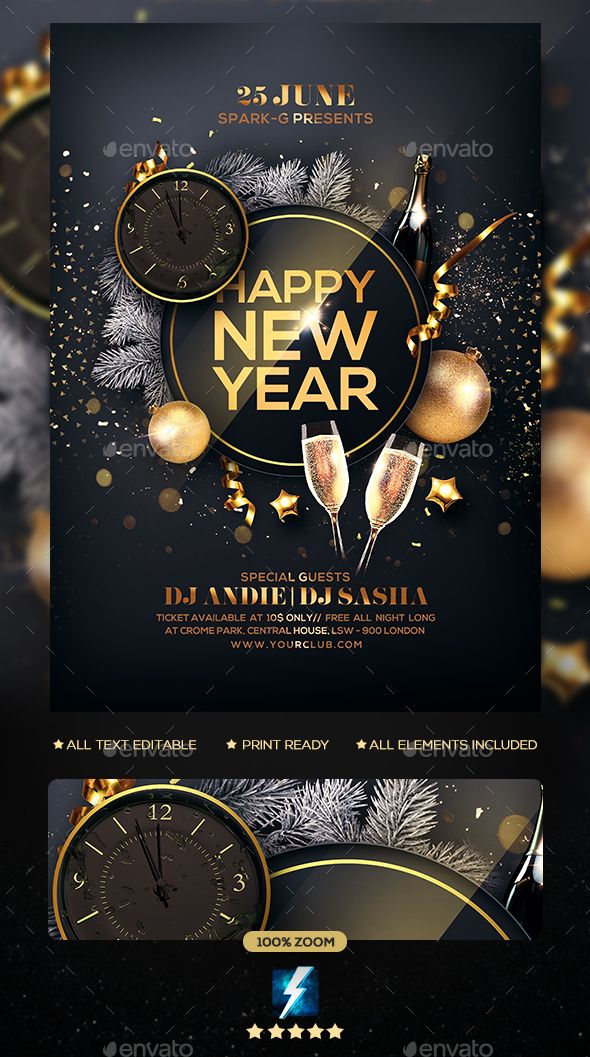 Pin On New Year Party Flyer Templates