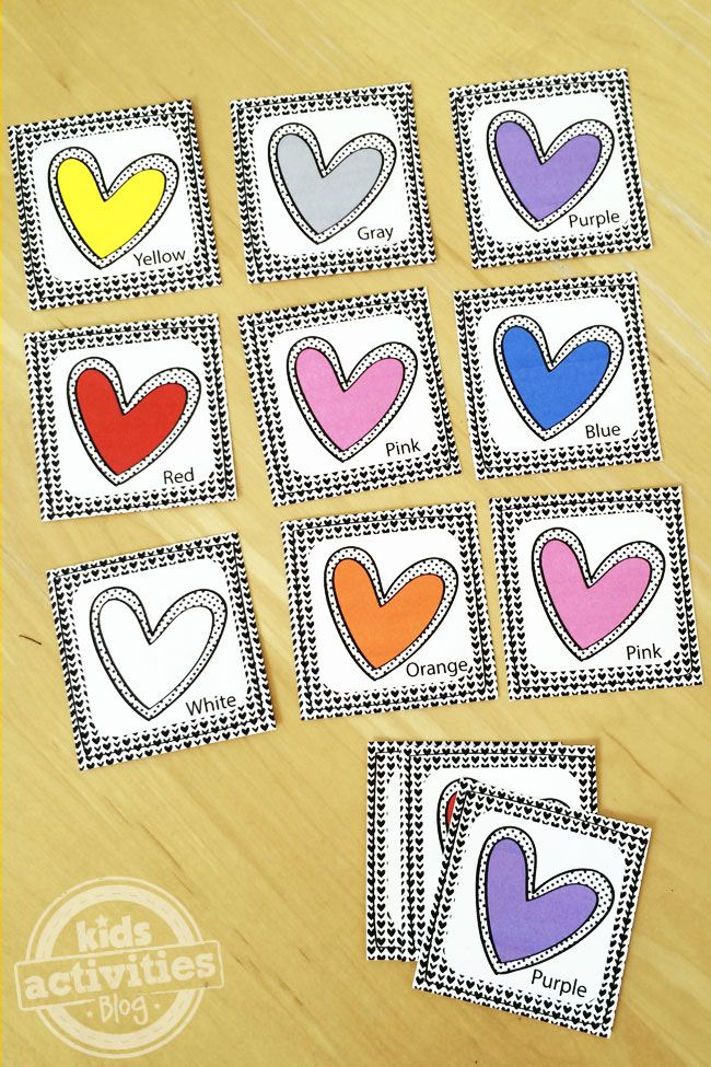 Play Go Fish or the Memory Match game with these free Printable Colored Hearts Playing Cards.