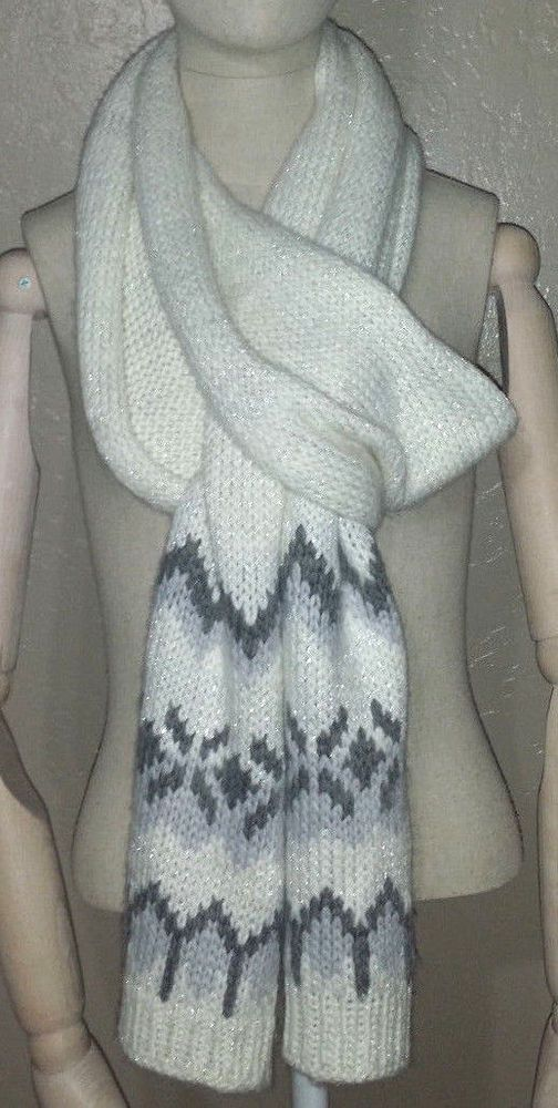 "Abercrombie & Fitch women ivory gray metallic wool blend knitted scarf 10"" x 92"" #AbercrombieFitch #Scarf"