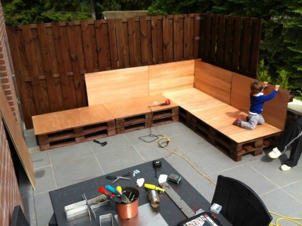 Our Outdoor Relax Sofa Made Out Of Pallets Lounges & Garden Sets Sofas