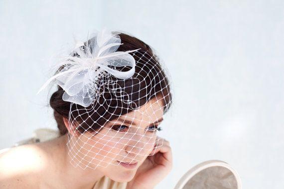 Brautschleier mit Federn Haarschmuck, Braut Fascinator, Hochzeit Kopfschmuck