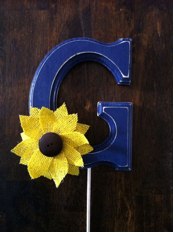CUSTOM SUNFLOWER Navy Wooden Letter Cake Topper Distressed for Rustic Country Chic Western Wedding Reception Decor on Etsy, $23.00
