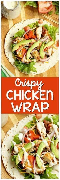 Crispy Chicken Wrap Crispy Chicken Wrap - Stuffed with...  Crispy Chicken Wrap Crispy Chicken Wrap - Stuffed with panko-coated chicken diced tomatoes sliced red onion avocado shredded cheese and ranch dressing. It makes a great weeknight dinner or lunch idea! Recipe : http://ift.tt/1hGiZgA And @ItsNutella  http://ift.tt/2v8iUYW