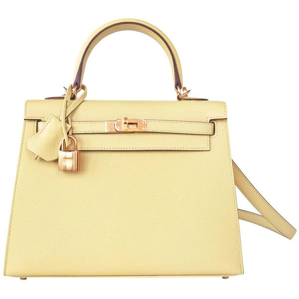 Pre-Owned Hermes Jaune Poussin 25cm Sellier Kelly Epsom Yellow... ($20,950) ❤ liked on Polyvore featuring bags, handbags, jaune poussin, genuine leather purse, hermes handbags, beige leather handbag, shoulder handbags and yellow leather handbag