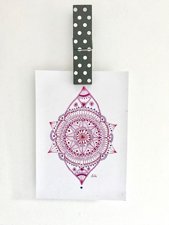 Pink Mandala Print - - A4 size 29.7cm W x 21cm L 11.6 x 8.2 inches - - This is a print, copied from my original drawing onto 200gsm A4 card. It is shipped in a mailing tube.