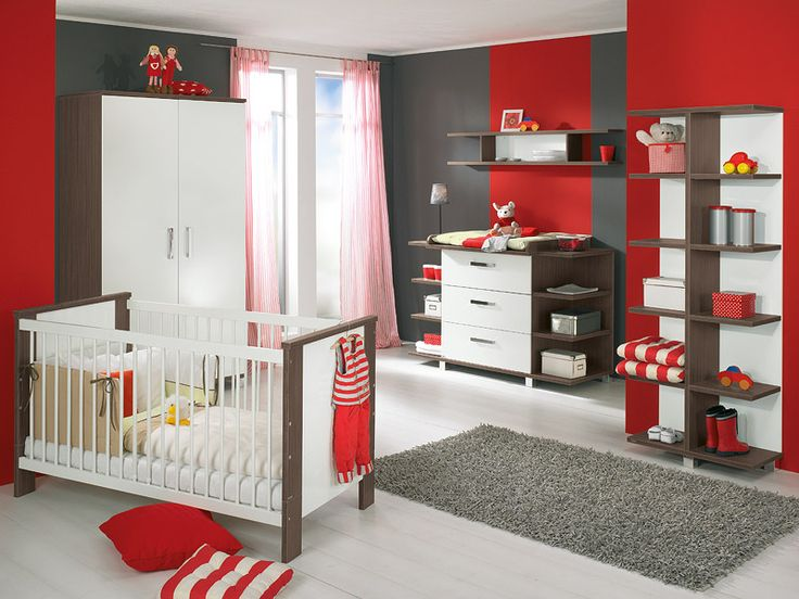 Modern Baby Furniture White And Brown Cabinet Red And Grey Wall Clean White  Floor Gray Smooth